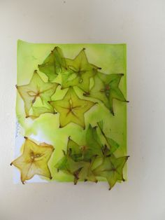 This project was geared towards learning more about the shape of a star using white paper, water colors in different variations of green and yellow, paintbrushes, and star fruit.-Little Wonders Blog