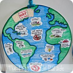 Earth day song, anchor chart, book and writing