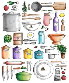 A perfect gift for your favorite foodie or chef! This is a high quality unframed print of an original colored pencil and ink drawing. LisaJaneSmith Etsy