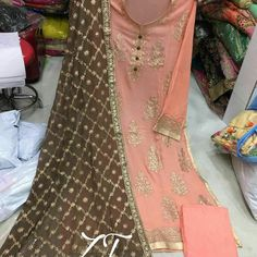 Details👌🏽:- semi stiched Georgette shirt with badla work , pure chiffon dupptta with badla work and santoon bottom ...... ------/------