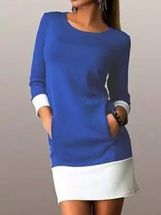 Blue Contrast 3/4 Sleeve Shift Dress
