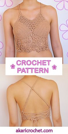 Gipsy crochet halter top pattern / boho festival top // by AKARImcThe GLORIA gipsy crochet top pattern is perfect to go to a festival, beach party or just hang out any hot summer day.Bikini back inspiration Top Tejidos A Crochet, Débardeurs Au Crochet, Top Crop Tejido En Crochet, Crochet Halter Tops, Crochet Bikini, Crochet Bodycon Dresses, Black Crochet Dress, Crop Top Pattern, Vest Pattern