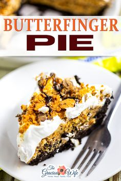 Butterfinger pie is an easy no bake dessert with an Oreo crust and a creamy peanut butter and Butterfinger filling. Made in just 20 minutes! Butterfinger Pie has officially been dubbed a new favorite in this house. Butterfinger pie has a creamy peanut butter filling with Butterfinger pieces folded right in. It sits in a decadent chocolate crust, and is topped with fluffy whipped topping. | The Gracious Wife @thegraciouswife #butterfingerpie #nobakeholidaypie #holidaypierecipes #thegraciouswife No Bake Pumpkin Cheesecake, Cheesecake Desserts, Easy Gluten Free Desserts, Delicious Desserts, Yummy Treats, Sweet Treats, Tart Recipes, Baking Recipes, Dessert Recipes