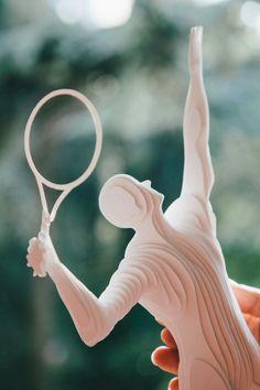 Paper Sculpture Tennis Player by Raya Sader Bujana