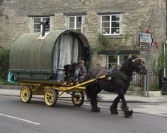 Bowtop wagon - This lady was seen passing through Bradford-on-Avon, Wiltshire, England.