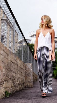 simple white and striped pants