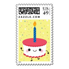 Birthday Cupcake Postage Stamps. This great stamp design is available for customization or ready to buy as is. Of course, it can be sent through standard U.S. Mail. Just click the image to make your own!