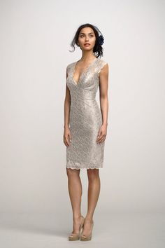 Iris Dress with Plunging Neckline - 30 Most Classy Silver Bridesmaid Dresses - EverAfterGuide