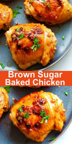 Juicy and tender baked chicken thighs with garlic and brown sugar. This recipe is so good and takes only 10 mins prep time | rasamalaysia.com #chicken #dinner