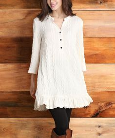 Love this Winter White Cable-Knit Ruffle-Hem Tunic - Women by Reborn Collection on #zulily! #zulilyfinds