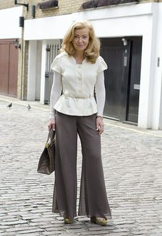 Classy chiffon palazzo pants with shaped jacket.