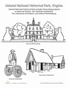 colonial house preschool yellowstone national park places coloring sheets and parks 415