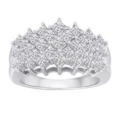 Allure 10k White Gold 2ct TDW Diamond 5-row Ring (H-I, I2-I3) (Size 6.5)
