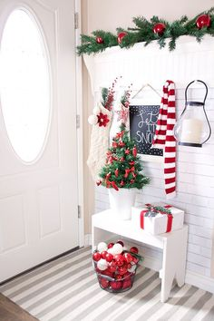 welcoming entrance in festive red