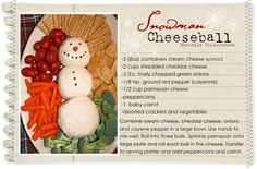 snowman cheeseball food desert recipe recipes ingredients instructions holday recipes snack recipes winter recipes