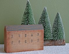Christmas  Decoration.  Wooden House Made of One Piece of Solid Wood. Scandinavian Style House.