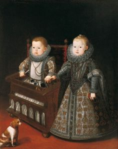 1600 Bartolomé González y Serrano, (Spanish artist, 1564-1627) The Infants Don Alfonso Caro and Doaa Ana Margarita with a dog