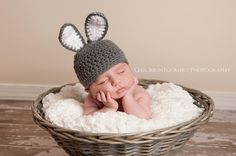 2 month old baby with bunny hat