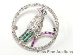 Stunning Antique Platinum Genuine Diamond Parrot Bird Art Deco 1930s Pin Brooch