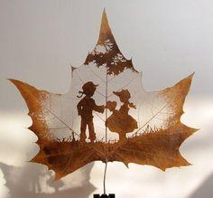 dessins feuilles morte automne 03 Des dessins sur des feuilles mortes  divers bonus art
