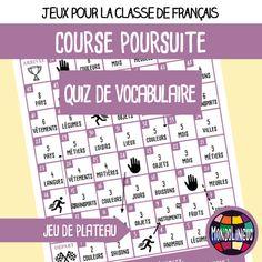 """Jeu de plateau """"course poursuite"""" pour la classe de français / FLE spécial quiz de vocabulaire. Ressource imprimable. A1/A2."""