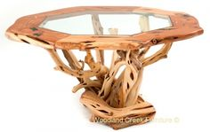Artistic Branch Table by Woodland Creek Furniture in Custom Made Sizes.