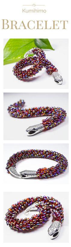 Kumihimo bracelet found here: ❤ https://www.etsy.com/ca/listing/252817575/kumihimo-bracelet-beaded-magatama-tutorial ❤ beaded bracelet seed beaded bracelet magatama bracelet topaz burgundy bracelet women female luster snake scales bracelet - pinned by pin4etsy.com