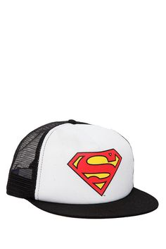 7853a492100 This black and white trucker hat features the Superman logo.