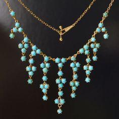 Edwardian 15ct. gold & turquoise necklace