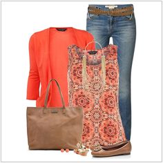 Coral cardigan with printed tank top ~ easy-mom on-the-go outfit - i love these colors! ( I already have a coral cardigan) Mode Outfits, Casual Outfits, Fashion Outfits, Fashion Trends, Casual Blazer, Womens Fashion, Winter Outfits, Fashion Ideas, Dress Casual