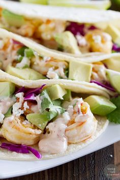 Chipotle Lime Shrimp Tacos - LAZ notes: a definite keeper. Love the smoky flavor of the chipotle. The shrimp was delicious as well. A very nice alternative from our standard (and favorite) shrimp taco recipe. Shrimp Taco Recipes, Shrimp Tacos, Fish Recipes, Mexican Food Recipes, Dinner Recipes, Tortilla Recipes, Recipies, Quesadillas, Enchiladas