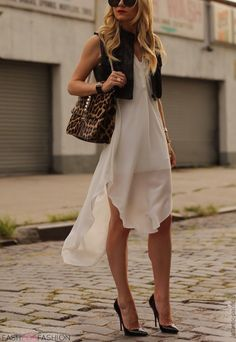 summer look dress and leather vest