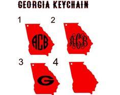 Georgia Keychain, Georgia Designs, Georgia Bulldogs, Georgia, Georgia Gifts, Georgia Monogram, Georgia On My Mind, Georgia Home, Georgia