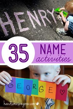 Last year in three year old preschool, names were a big deal. So I can only suppose they will be again this year in four year old preschool. Henry learned to recognize his name pretty early on. At first, he thought any word that started [or even had one] Preschool Names, Preschool Literacy, Literacy Activities, Preschool Activities, Spelling Activities, Pre Kindergarten, Activities For 4 Year Olds, 3 Year Old Preschool, Early Literacy