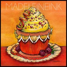 Orange Raspberry Cupcake - Original Pen and Watercolor Artwork By Madeleine Bellwoar