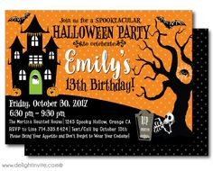 Kid-Friendly Halloween Birthday Invitations, non-scary halloween party invitations for kids, halloween birthday invites for children