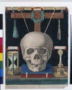 gravure anonyme France 17° - Verus Crucis Triumphus Meditatio Mortis