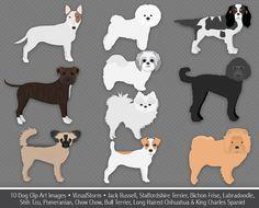 Dog Clip Art 3, digital dogs, Pit Bull, Chow, Jack Russell, Bichon, Shih Tzu, Pomeranian, Bull Terrier, Chihuahua, Spaniel, Buy 2 Get 1 Free