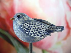 Pflanzen- & Gartenstecker - Steckvogel, blau struckturiert 2 - ein Designerstück von Brigitte_Peglow bei DaWanda