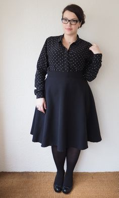 plus size black on black office outfit (Frocks and frou frou Lilli)