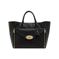Willow ToteBlack Ostrich With Soft Gold