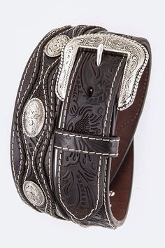 Men's Floral Tooled Leather Braided Belt Heavy Duty Western Engraved Concho Gun #Rodeo