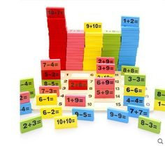 (28.20$)  Watch here - http://ai4pn.worlditems.win/all/product.php?id=32701459890 - Wooden mathematics colored dominoes Children number educational toy 110pcs/set multicolor block match cognitive development math