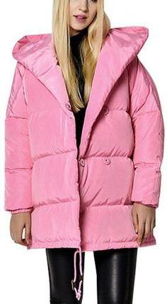 Hooded Puffer Down Jacket - (Pink, Black, Grey)
