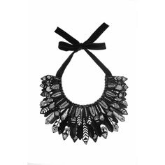 Forest Of Chintz Black & White  Aztec Plume Collar (950 AUD) ❤ liked on Polyvore featuring jewelry, necklaces, leaf necklace, cluster necklace, leaves jewelry, sequin necklace and black white necklace