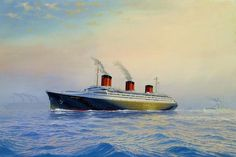 This painting shows this magnificent liner passing Isle de France in fog off Le Havre with French battleships Provence and Bretagne in the distance. SSNormandie was an ocean linerbuilt inSt. Nazaire France.She entered service in 1935 as the largest and fastest passenger ship afloat. During WW IINormandie was seized by US authorities at New York and renamed USS Lafayette. In 1942, the liner caught fire while being converted to a troopship,capsized onto her port side and came to rest on…