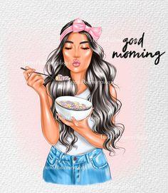 Fashion Illustration Hair, Black Flare Dress, Babe, Textile Logo, Illustrations, Clipart, Girl Boss, Fashion Prints, Girl Fashion