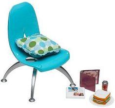 2005 Barbie Fashion Fever Room - Blue Mod Chair - w Sandwich   eBay