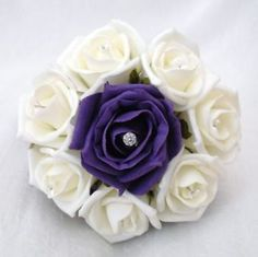 WEDDING FLOWERS - FLOWERGIRLS POSY BOUQUET IVORY ROSES & PURPLE RIBBON