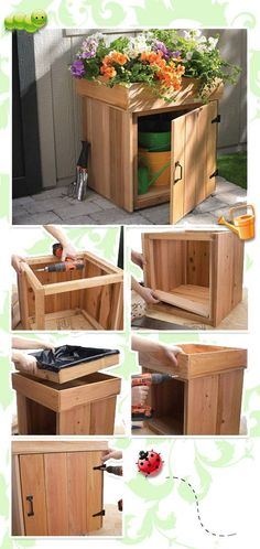Pallet box diy 30 creative diy wood and pallet planter boxes to Outdoor Projects, Garden Projects, Wood Projects, Woodworking Projects, Pallet Planter Box, Planter Boxes, Garden Furniture, Diy Furniture, Furniture Plans